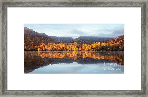 Framed Print featuring the photograph Winona Mn Fall Colors Panorama No Towers by Kari Yearous