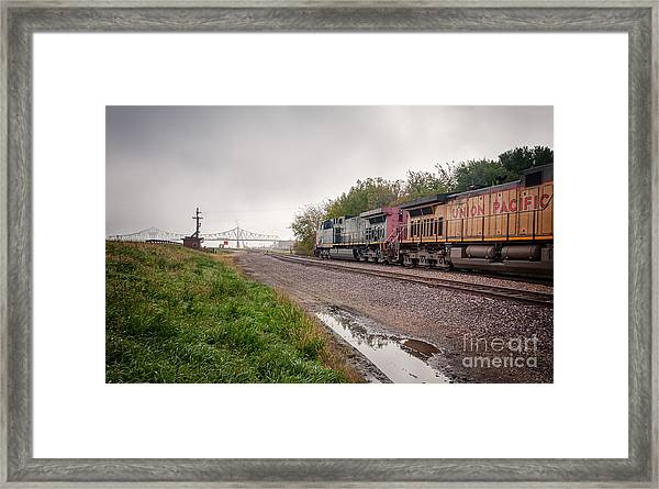 Framed Print featuring the photograph Winona Mn Train Scene Puddle by Kari Yearous