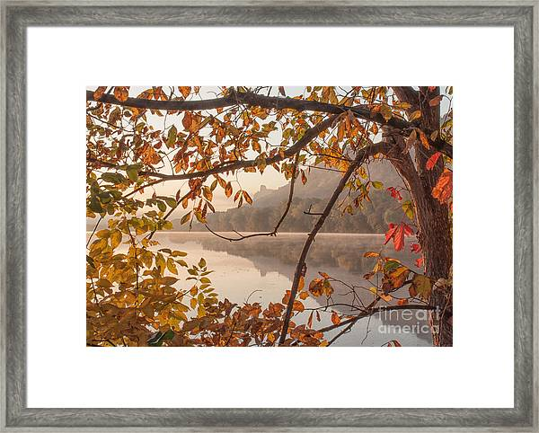 Framed Print featuring the photograph Winona Photograph Sugarloaf Through Leaves by Kari Yearous
