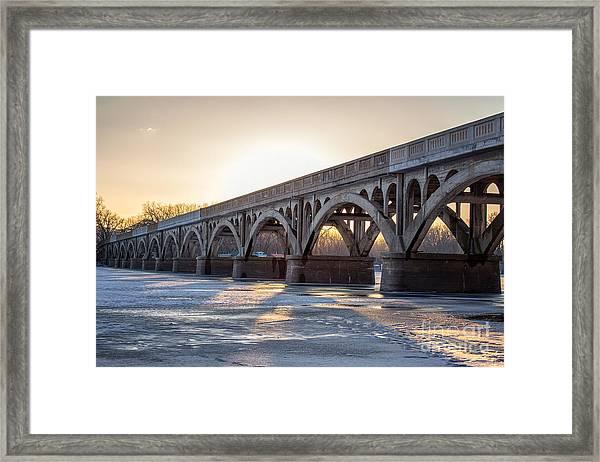 Framed Print featuring the photograph Winona Wagon Bridge At Sunset by Kari Yearous