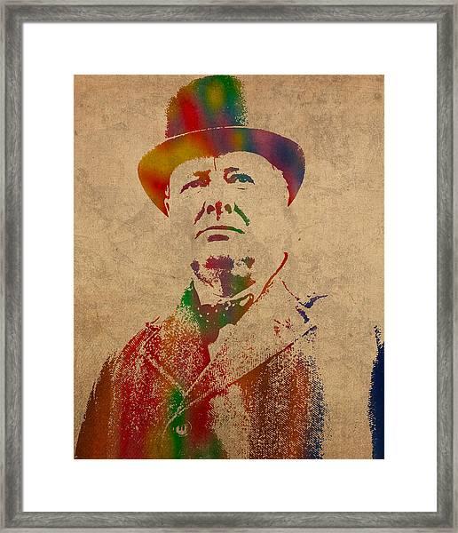 Winston Churchill Watercolor Portrait On Worn Parchment Framed Print