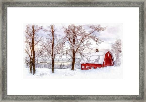 Winter Arrives Watercolor Framed Print