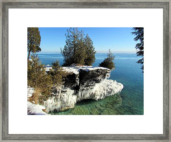 Winter At Cave Point Framed Print