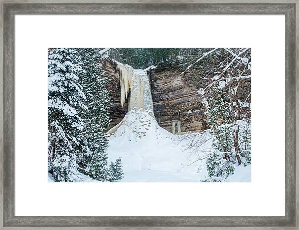 Winter At Munising Falls Framed Print