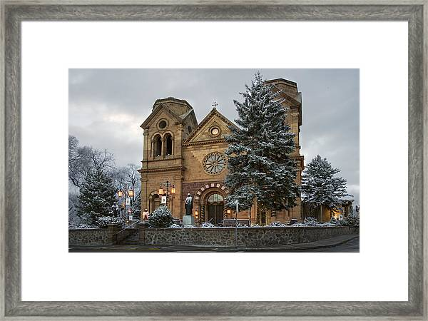 Winter At St Francis Cathedral In Santa Fe New Mexico Framed Print