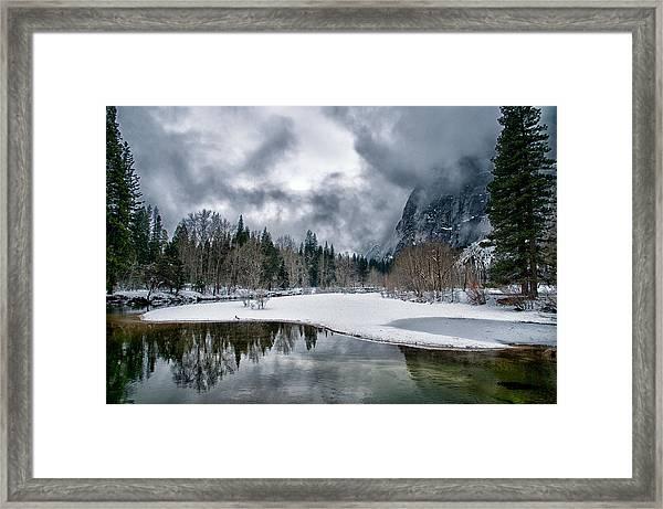 Winter At Swinging Bridge Framed Print