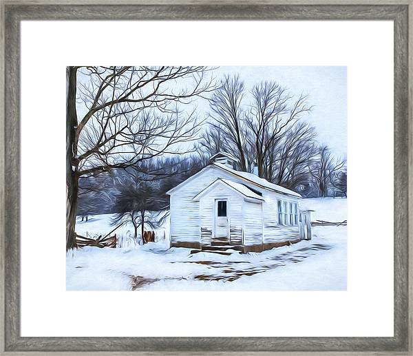 Winter At The Amish Schoolhouse Framed Print