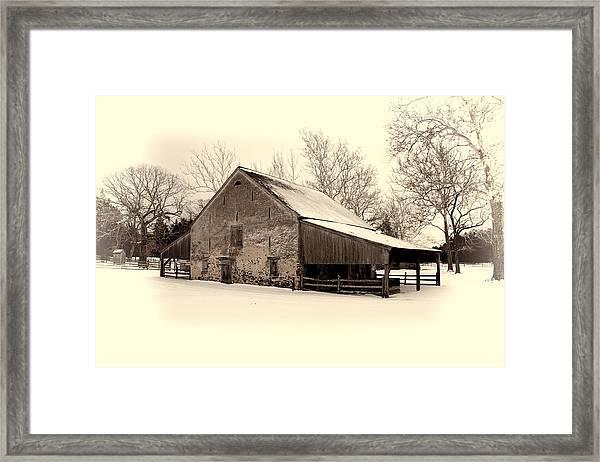Winter At The Horse Barn Framed Print
