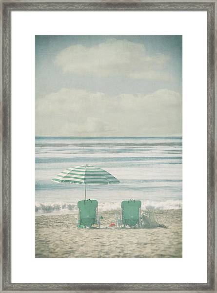 Winter Beach Chairs Framed Print