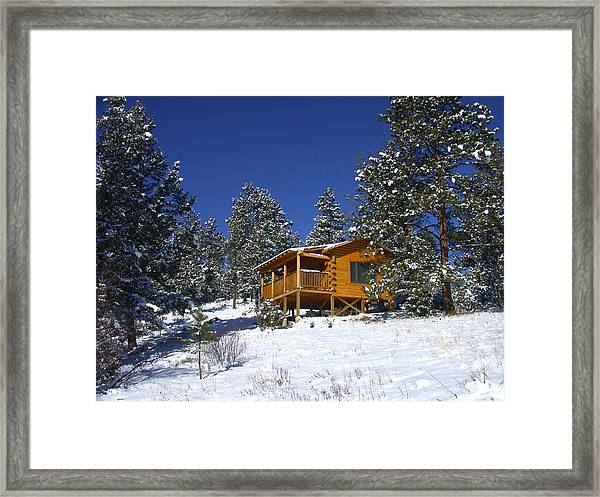 Winter Cabin Framed Print