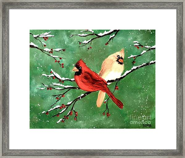 Winter Cardinals Framed Print