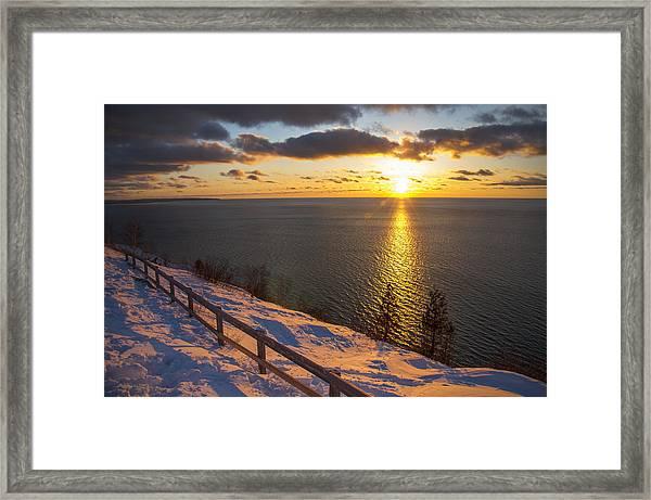 Winter Cliffs On Lake Michigan Framed Print
