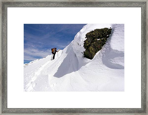 Winter Climb On Mount Lafayette Framed Print