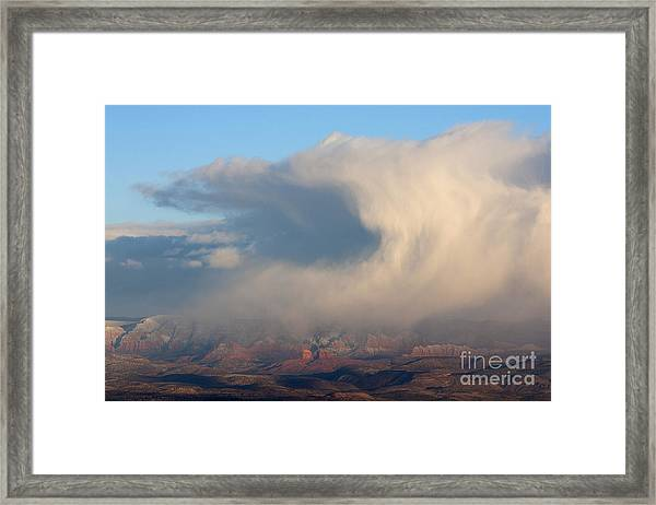 Winter Cloud And Cathedral Rock In Sedona Arizona Framed Print