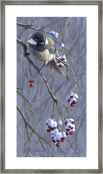 Winter Harvest 1 Chickadee Painting Framed Print
