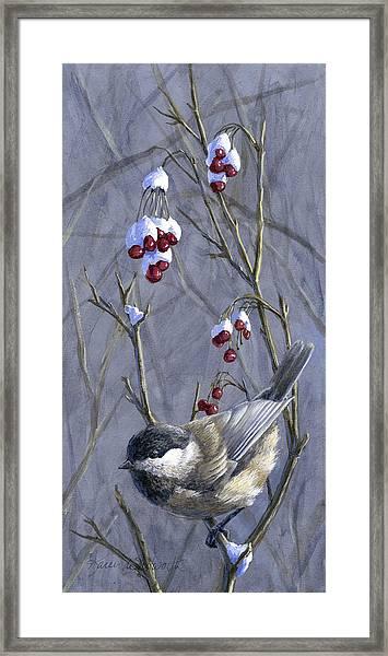 Winter Harvest 2 Chickadee Painting Framed Print