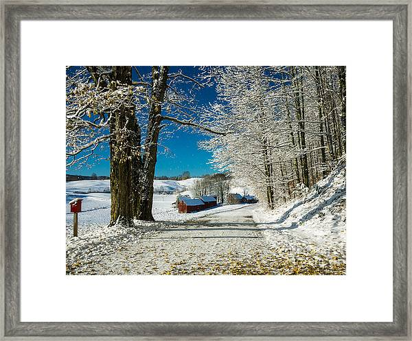 Framed Print featuring the photograph Winter In Vermont by Edward Fielding