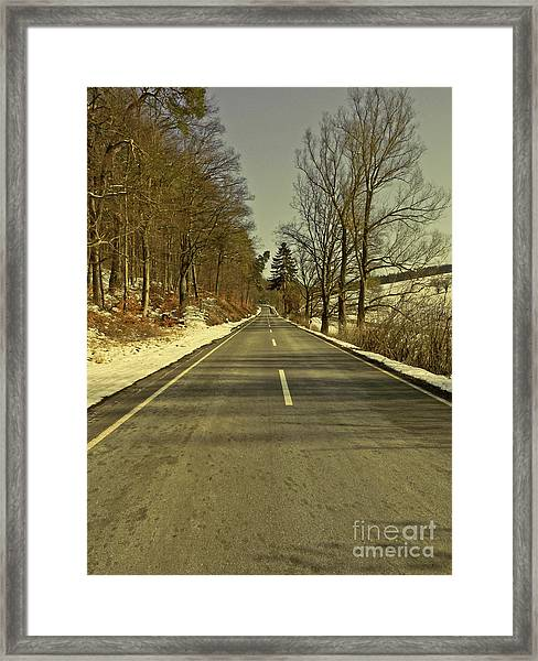 Winter-landscape With Country Road Framed Print