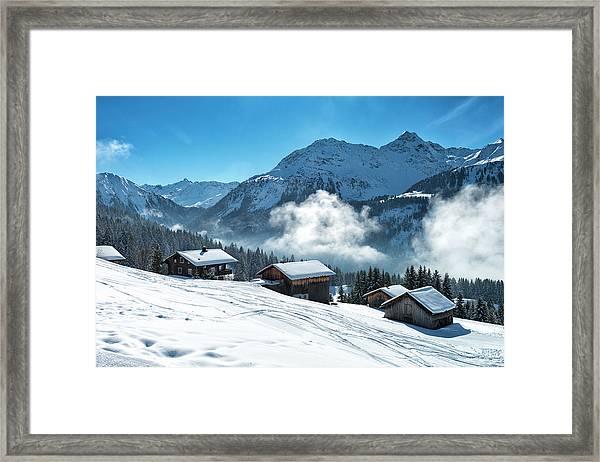 Winter Landscape With Ski Lodge In Framed Print