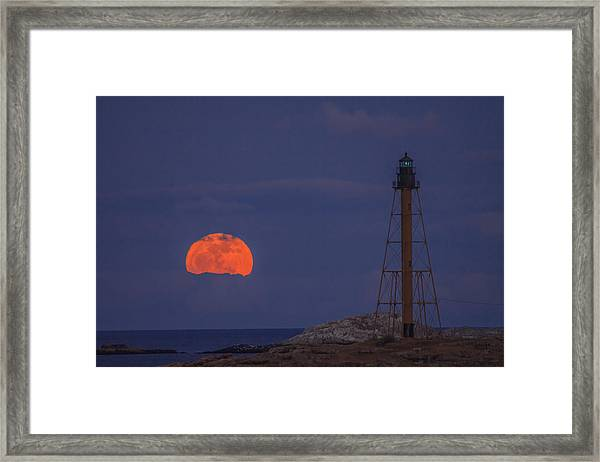 Winter Moon Rising Over Marblehead Light Framed Print