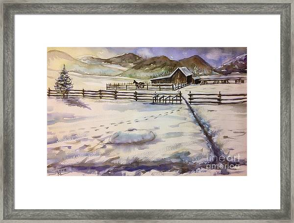 Framed Print featuring the painting Winter Morning by Katerina Kovatcheva