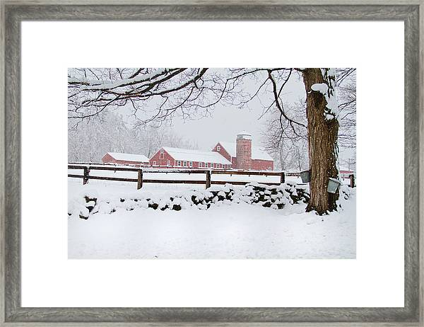 Winter New England Farm Framed Print
