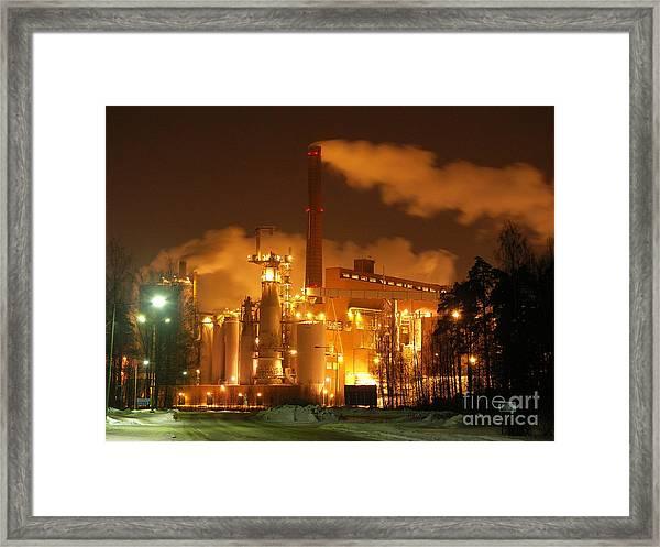 Winter Night At Sunila Pulp Mill Framed Print