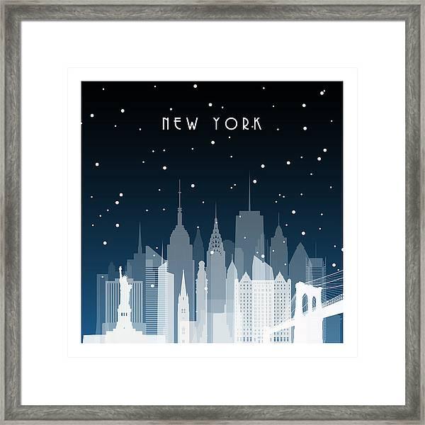 Winter Night In New York. Night City In Framed Print