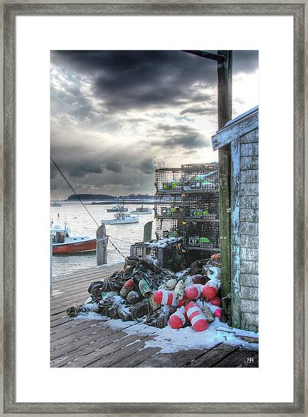 Winter On The Lobster Wharf Framed Print