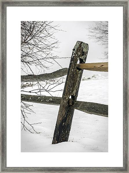 Winter Rail Fence Framed Print