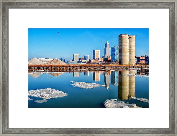 Winter Reflections Of Cleveland Ohio Framed Print