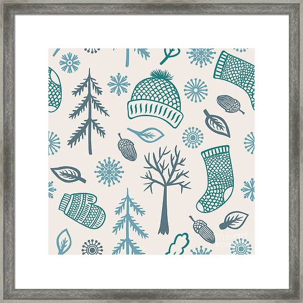 Winter Seamless Pattern With Knitted Framed Print by Marmarto