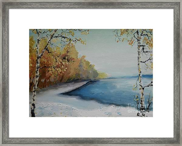 Winter Starts At Kymi River Framed Print