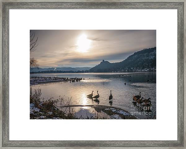 Framed Print featuring the photograph Winter Sugarloaf With Geese by Kari Yearous
