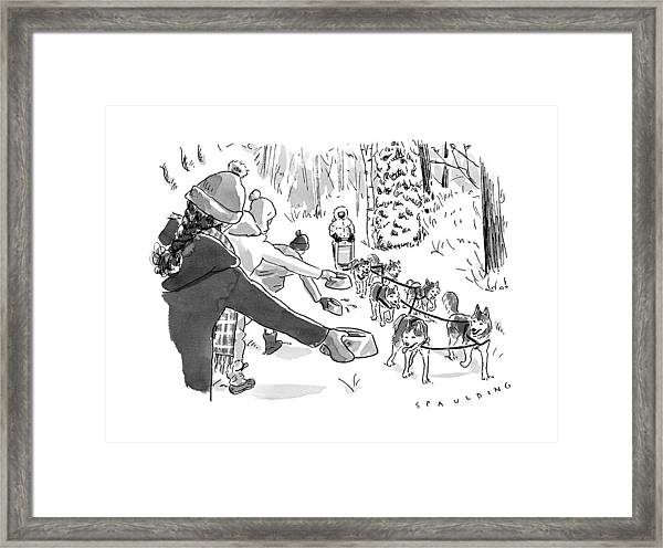 Winter Suited Volunteers Hold Out Dog Dishes Framed Print