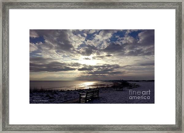 Winter Sunset Beach And Bench Framed Print by Merice Ewart