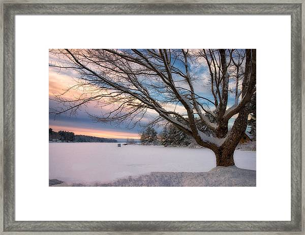 Winter Sunset On Long Lake Framed Print