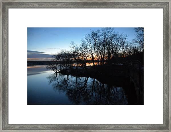 Winter Sunset On Potomac River Framed Print by Bill Helman