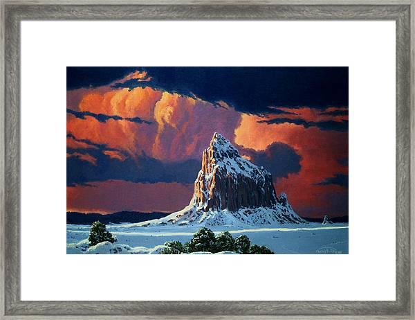 Winter Sunset Over Shiprock Framed Print