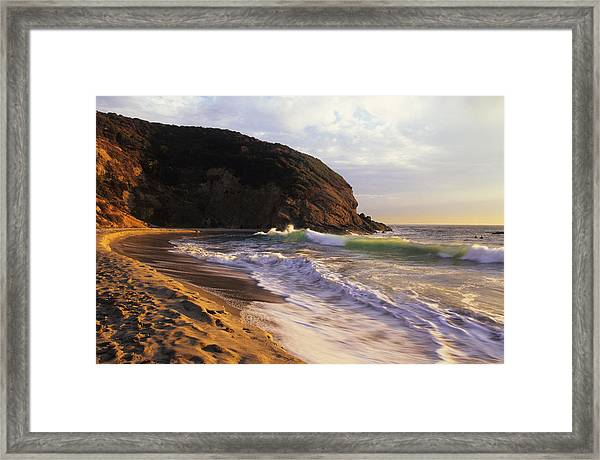 Winter Swells Strands Beach Framed Print