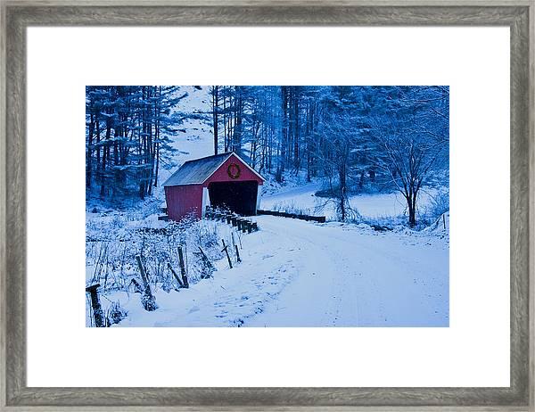 winter Vermont covered bridge Framed Print