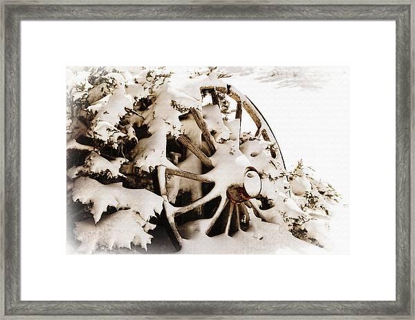 Winter Wagon Wheel Framed Print