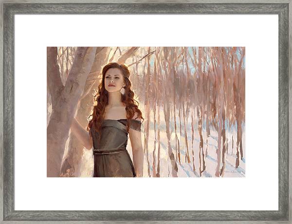 Winter Warmth - Figure In The Landscape Framed Print