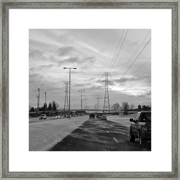 Wintery Commute Framed Print