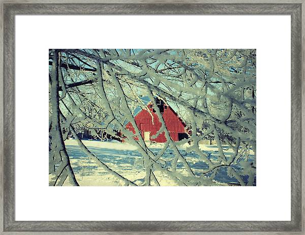 Our Frosty Barn Framed Print