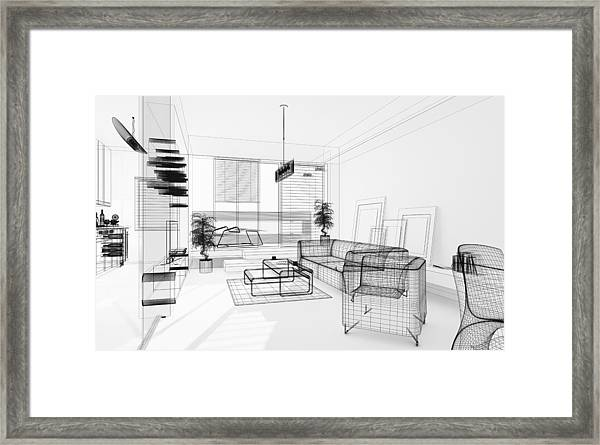 Wireframe 3d Modern Interior. Blueprint. Render Image. Architecture Abstract. Framed Print by PetrePlesea
