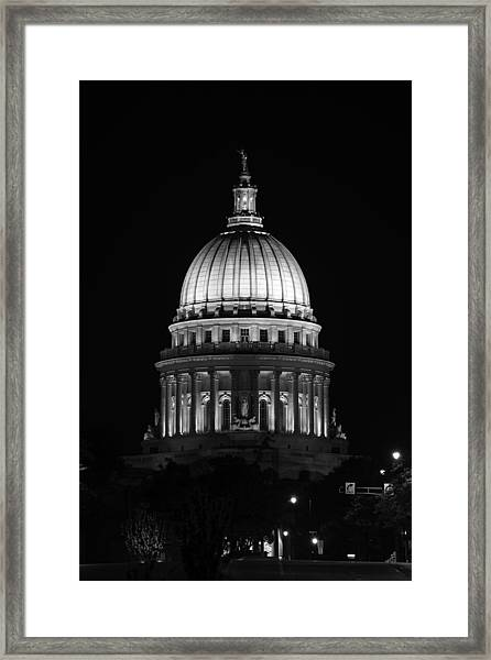 Wisconsin State Capitol Building At Night Black And White Framed Print