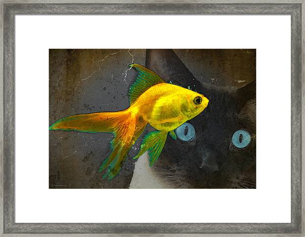 Wishful Thinking - Cat And Fish Art By Sharon Cummings Framed Print