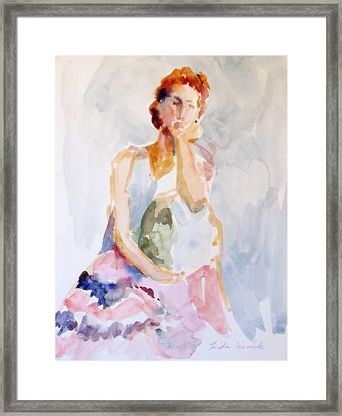 Wistful Redheaded Model Framed Print