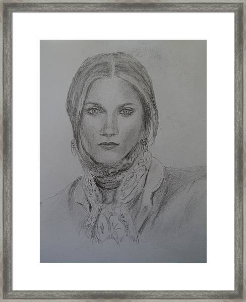 With A Scarf Framed Print